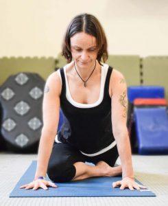 image of claire zamora teaching yin yoga