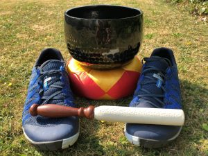 Running shoes and a meditation gong