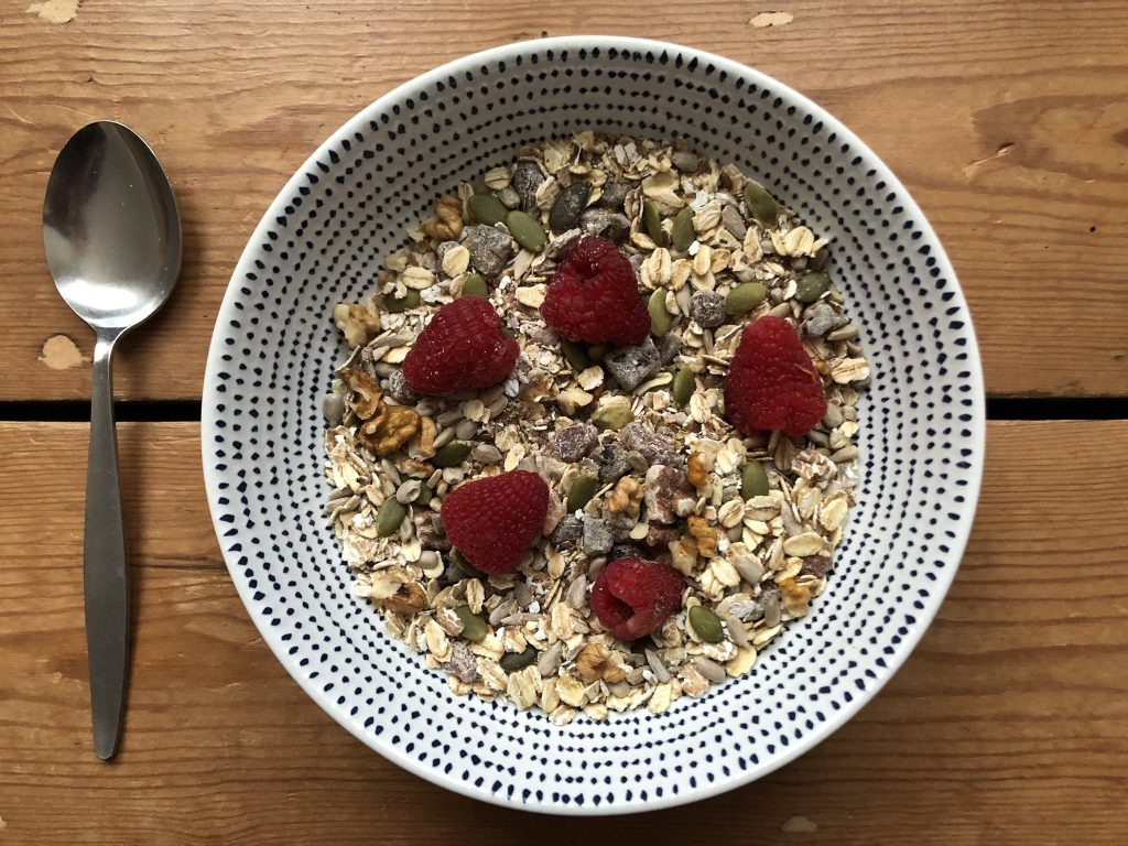 A bowl of muesli with many different ingredients